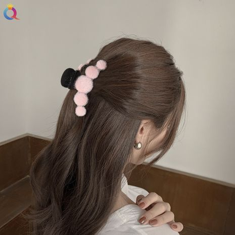 simple new candy color plush hair clip  NHDM274376's discount tags