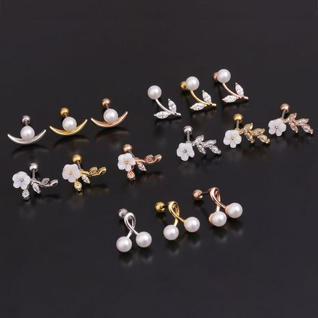 Korean simple fashion inlaid pearl earrings  NHEN274556's discount tags