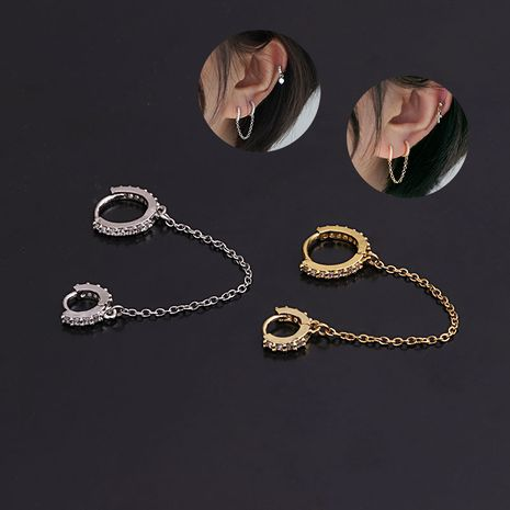 fashion  zircon round ear buckle  creative  pierced earrings  NHEN274558's discount tags