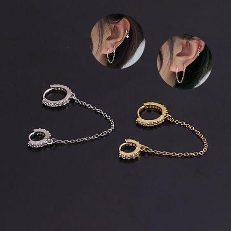 Pendientes perforados creativos con hebilla de oreja redonda de circón de moda NHEN274558's discount tags