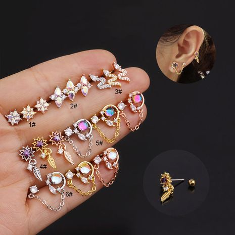 Korean new color zircon stainless steel earrings  NHEN274560's discount tags