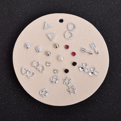 conjunto de pendientes geométricos en forma de corazón de moda NHSD274583's discount tags