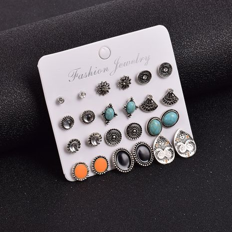 Creative retro all-match diamond-studded geometric circle 12 pairs of earrings set  NHSD274582's discount tags