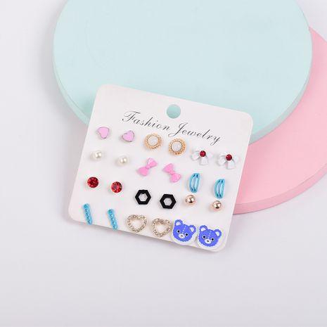 Ensemble de boucles d'oreilles simples bowknot sertis de diamants Korea NHSD274591's discount tags