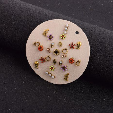 conjuntos de pendientes de perlas de flores de diamantes de imitación con incrustaciones retro NHSD274596's discount tags