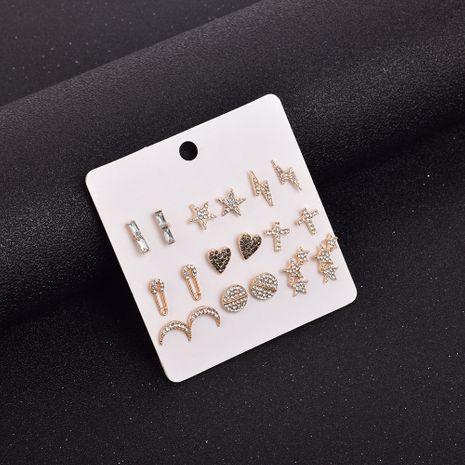 Ensemble de 9 pièces de petites boucles d'oreilles en forme de diamant et étoile de lune NHSD274598's discount tags