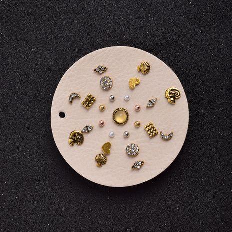 ensemble de boucles d'oreilles en alliage géométrique en forme de coeur en diamant rétro NHSD274599's discount tags