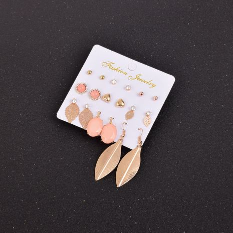 simple hollow leaf earrings set NHSD274601's discount tags