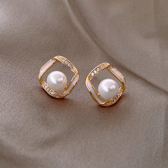 925 silver needle simple pearl  new trendy  earrings  NHXI274613