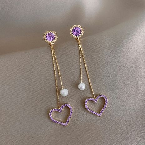 nouvelles boucles d'oreilles en perles d'amour creux en diamant coloré NHXI274616's discount tags