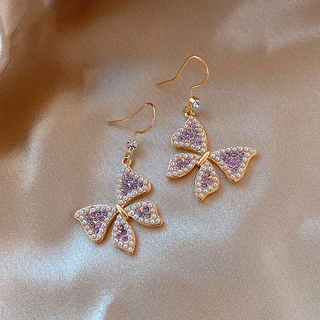 nouvelles boucles d'oreilles tendance papillon perle violet NHXI274628's discount tags