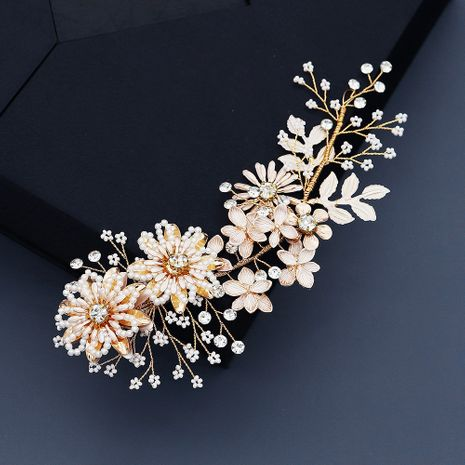 luxury handmade beaded  alloy flower pearl  side clip  NHHS274637's discount tags