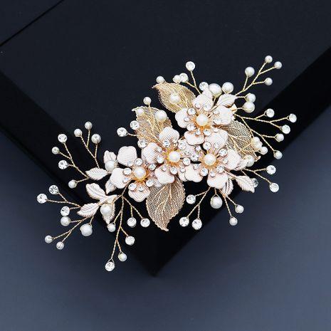 Korean Golden Silk Flower Pearl Hair Clip NHHS274638's discount tags