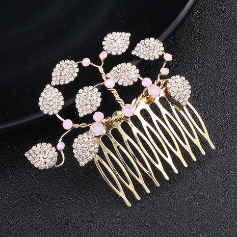 Korean insert comb simple handmade rhinestone leaf hair comb NHHS274645's discount tags