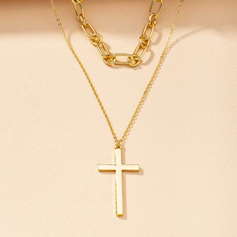 Double Cross Necklace  NHGU274672's discount tags