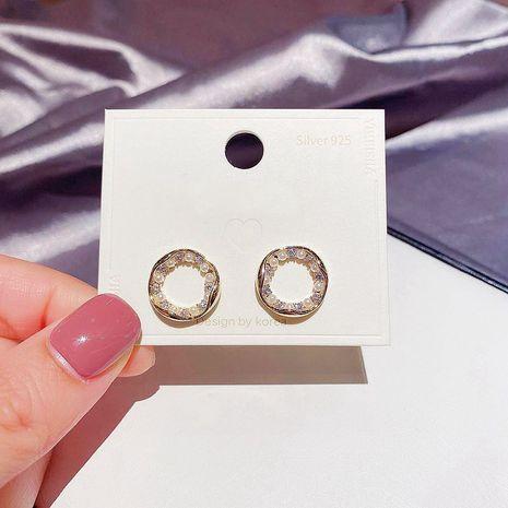 S925 Silbernadel Koreanisch Einfach eingelegte Reisperlen Zirkon Unregelmäßige Kreis Ohrringe NHCG274697's discount tags