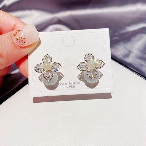 Korea  all-match gentle cat's eye stone zircon flower earrings  NHCG274703's discount tags
