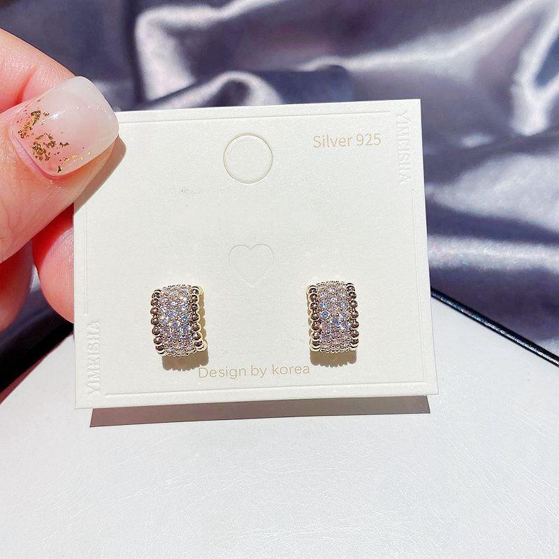 Korean  S925 silver needle  simple C-shaped full diamond micro-inlaid zircon earrings  NHCG274707