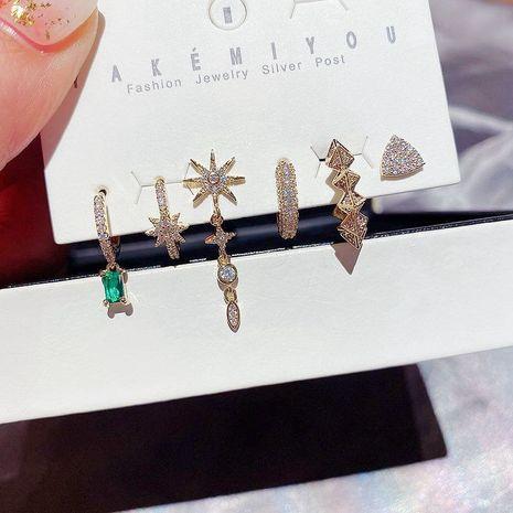Ensemble de 6 boucles d'oreilles étoiles géométriques en zircon micro-incrusté de diamants verts coréens NHCG274709's discount tags