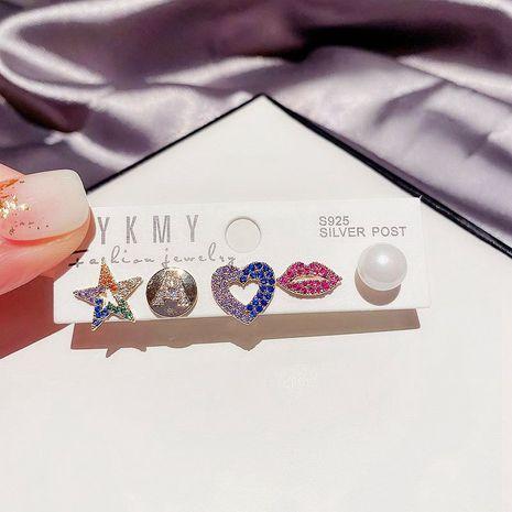 Koreanische Perlenfarbe Zirkon Mikro eingelegte rote Lippen fünfzackige Stern herzförmige Ohrringe NHCG274717's discount tags
