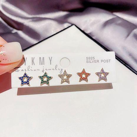 Koreanischer einfacher farbiger Zirkon-Mikro-eingelegter Pentagramm-Sternohrring NHCG274719's discount tags