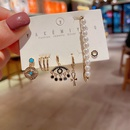 black zircon tassel eye  pearl earrings set  NHCG274722