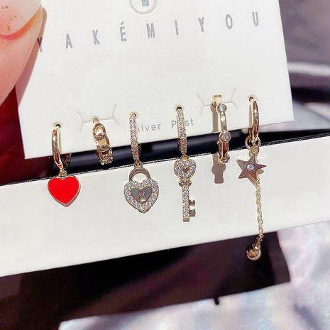 Korean zircon micro-inlaid lock key love ear buckle small earrings set  NHCG274726's discount tags