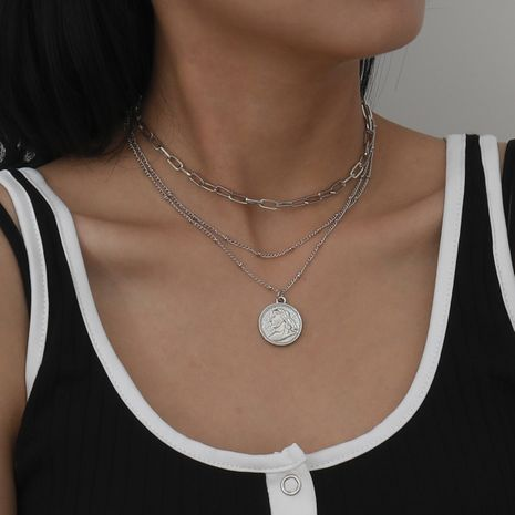retro punk portrait necklace set NHXR274730's discount tags