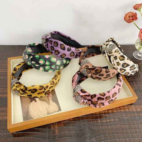 Korean leopard print plush rhinestone knotted wide-brimmed headband NHSM274193's discount tags