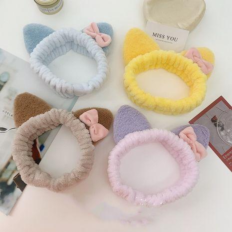 Coréen mignon oreilles de chat élastiques en peluche lavage visage papillon bandeau NHSM274201's discount tags