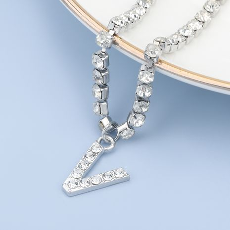 fashion simple acrylic diamond letter V pendant necklace NHJE274771's discount tags