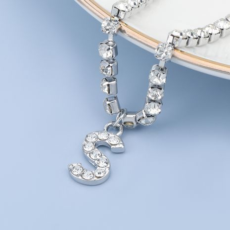 fashion simple acrylic diamond letter S pendant necklace NHJE274774's discount tags