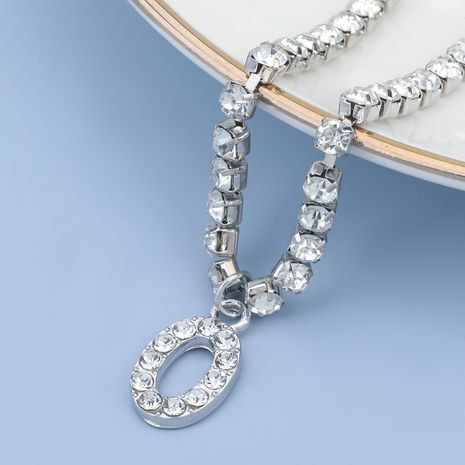 fashion simple acrylic diamond letter O pendant necklace NHJE274775's discount tags