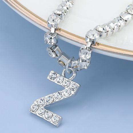 fashion simple acrylic diamond letter Z pendant necklace NHJE274777's discount tags