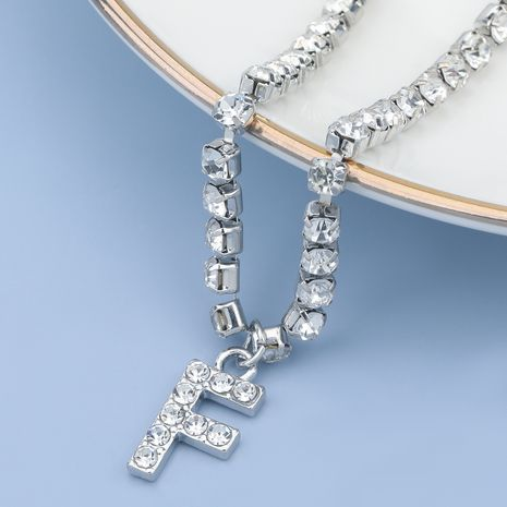 fashion simple acrylic diamond letter F pendant necklace NHJE274778's discount tags