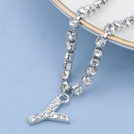 fashion simple acrylic diamond letter Y pendant necklace NHJE274779's discount tags