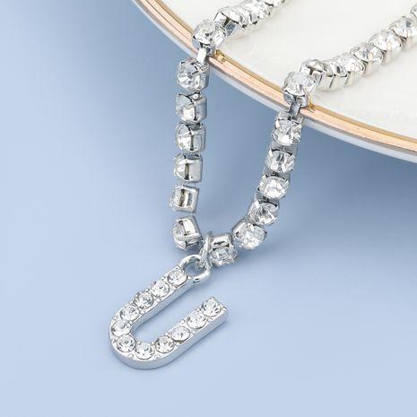 fashion simple acrylic diamond letter U pendant necklace NHJE274786's discount tags