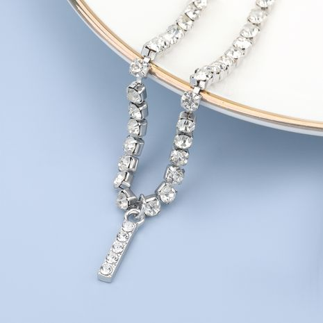 fashion simple acrylic diamond letter I pendant necklace NHJE274787's discount tags