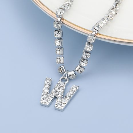 fashion simple acrylic diamond letter W pendant necklace NHJE274789's discount tags
