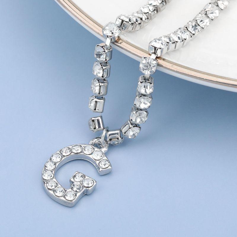 fashion simple acrylic diamond letter G pendant necklace NHJE274791