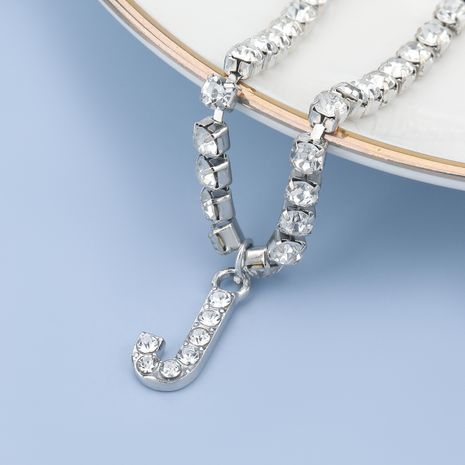fashion simple acrylic diamond letter J pendant necklace NHJE274792's discount tags