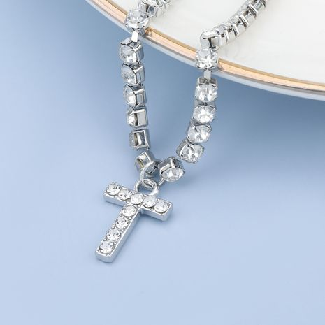 fashion simple acrylic diamond letter T pendant necklace NHJE274793's discount tags