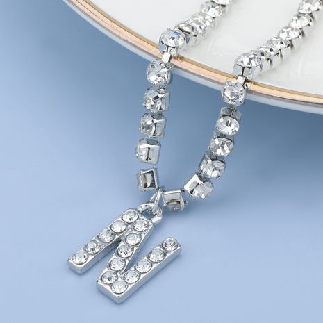 fashion simple acrylic diamond letter N pendant necklace NHJE274794's discount tags
