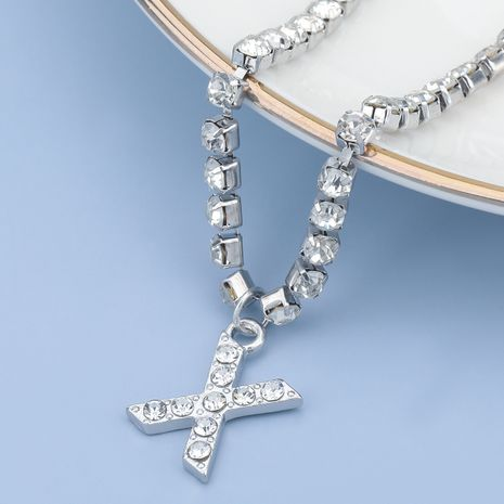 fashion simple acrylic diamond letter X pendant necklace NHJE274795's discount tags
