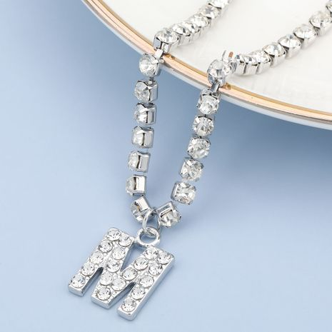 fashion simple acrylic diamond letter M pendant necklace NHJE274797's discount tags