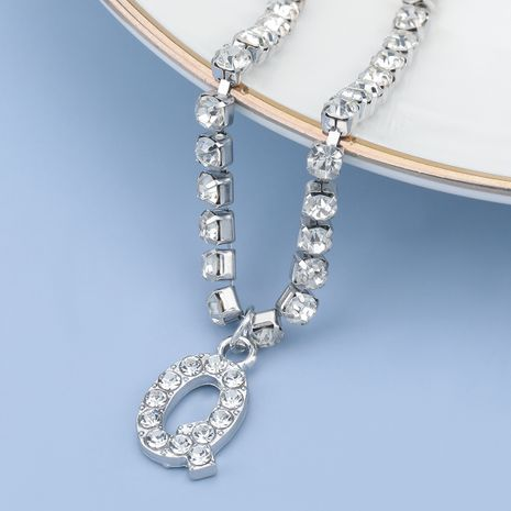 fashion simple acrylic diamond letter Q pendant necklace NHJE274800's discount tags