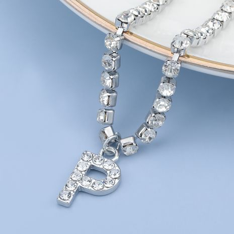 fashion simple acrylic diamond letter P pendant necklace NHJE274801's discount tags