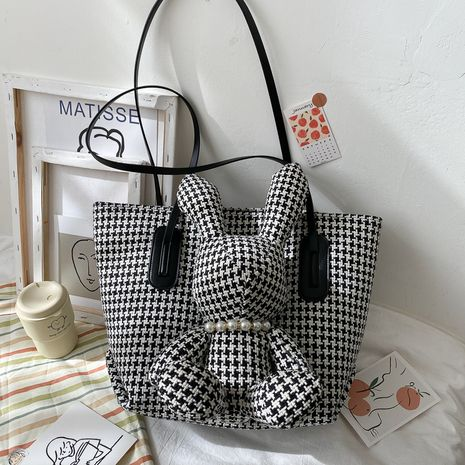houndstooth rabbit trendy shoulder bag  NHLH274820's discount tags
