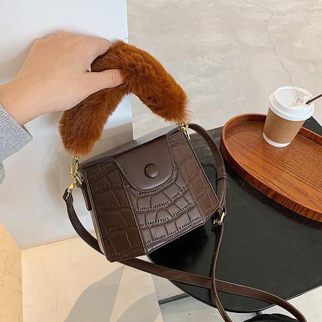 furry one-shoulder messenger portable bucket bag NHLH274846's discount tags