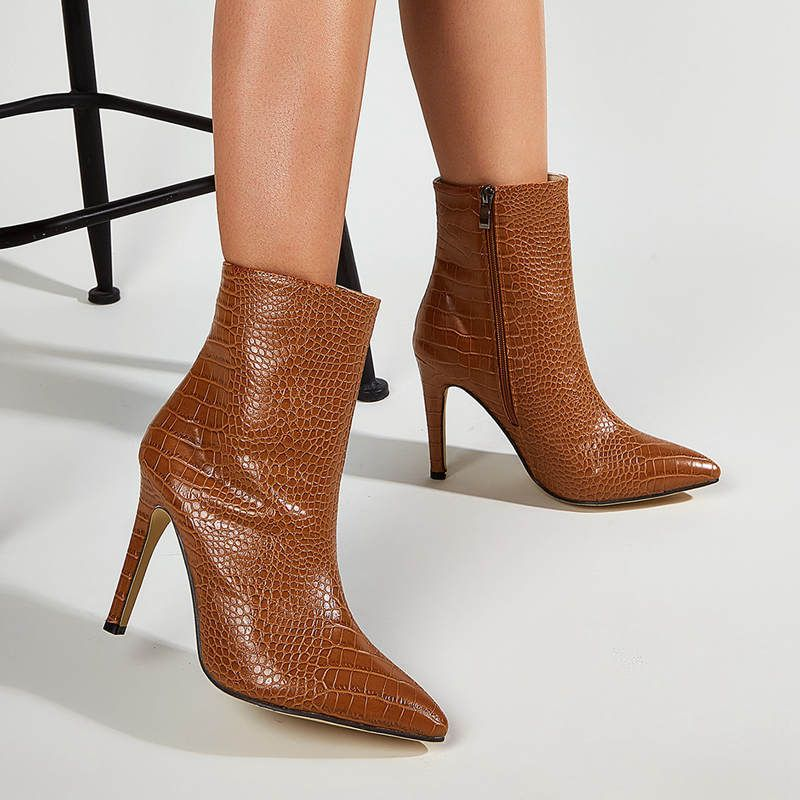 women's crocodile pattern pointed toe high-heeled short brown boots  NHSO274896